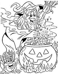 Witchs House Halloween Witch Making A Magic Potion Coloring Page
