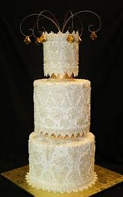 Victorian Lace Wedding Cake With Amber Jewels