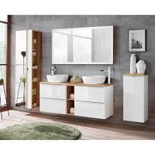 badmöbel set mit doppel waschtisch und 140cm led spiegel toskana 56 ho