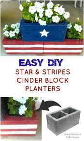 DIY Stars Stripes Cinder Block Planters