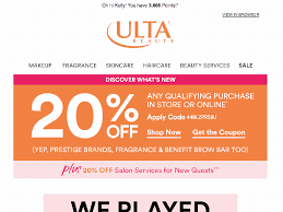 EMAIL CRITIQUE: ULTA Beauty, Great Promotional Email ... Ulta Free Shipping On Any Order Today Only 11 15 Tips And Tricks For Saving Money At Business Best 24 Coupons Mall Discounts Your Favorite Retailers Ulta Beauty Coupon Promo Codes November 2019 20 Off Off Your First Amazon Prime Now If You Use A Discover Card Enter The Code Discover20 West Elm Entire Purchase Slickdealsnet 10 Of 40 Haircare Code 747595 Get Coupon Promo Codes Deals Finders This Weekend Instore Printable In Store Retail Grocery 2018 Black Friday Ad Sales Purina Indoor Cat Food Vomiting Usa Swimming Store