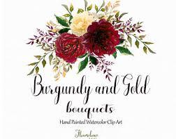 Burgundy And Gold Watercolor Clipartburgundy Flower Clipartmarsala Bouquet Clipart