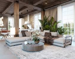 Living Room Rustic Style Circular Wooden Table Design Gray Sofa And Modern