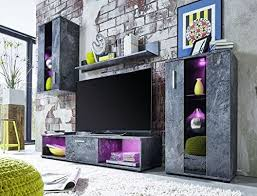 trendteam smart living wohnwand tv wand stonewall in