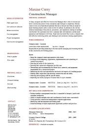 Construction Manager CV Template Building Industry References Work History Projects