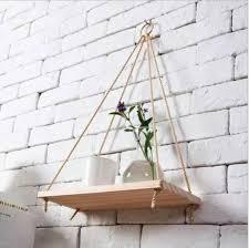 2 stk deko wand hängeregal mango holz regal mit jute seil schweberegal 45x14x1 5cm