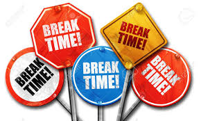 Break Time 3D Rendering Rough Street Sign Collection Stock Photo