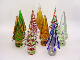 Vintage Italian Murano Glass Christmas Tree Sculptures By Formia For Sale