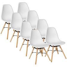 weiß 8er set skandinavisches retro design modern stühle esszimmerstühle möbel holz stahl kunststoff schale rund für wohnzimmer esszimmer küche büro