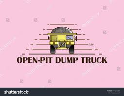 Openpit Dump Truck Riding Stripping Overburden Stock Vector (Royalty ...