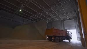 Truck Unloads The Sand In Warehouse, Production Of Ceramics. Stock ...