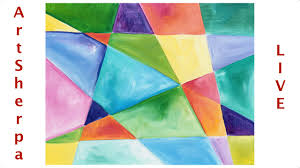 Geometric Beginner Easy Abstract Painting Tutorial LIVE Canvas Idea