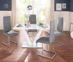 essgruppe set 4 tlg mit 4 stühlen und tisch in weiß hochglanz kaufen otto