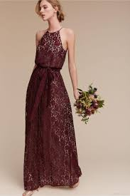 2017 Burgundy Bridesmaid Dresses Lace Halter A Line Sleeveless Long