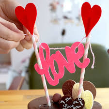 Romantic Love Hearts cake decoration cute Flag Garland Banner cake toppers Lover girlfriend birthday party baking