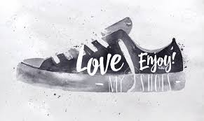Poster Sport Shoes In Retro Vintage Style Lettering Love My Enjoy Drawing With Black