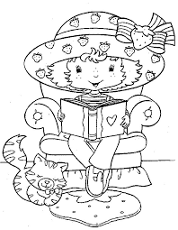 Coloring Page Strawberry Shortcake Reading Love Book