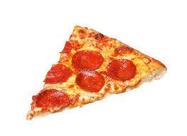 Slice of fresh italian classic original Pepperoni Pizza isolated stock photo