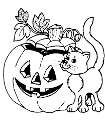 Halloween Pumpkin Coloring Pages With Cat