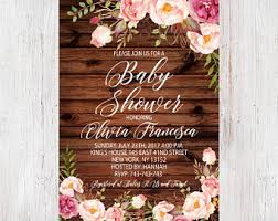 Boho Baby Shower Rustic Floral Invitation Shabby Chic Girl Invite Peony