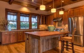Rustic Log Cabin Kitchen Ideas by Artistic Small Log Cabin Kitchen Ideas Using Pendant Drum Lamp