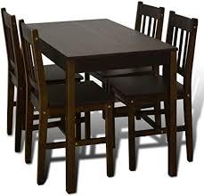 vidaxl essgruppe braun esszimmertisch holzstuhl esstisch küchentisch 4 stühle