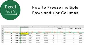 How To Freeze Multiple Rows And Or Columns In Excel Using Freeze