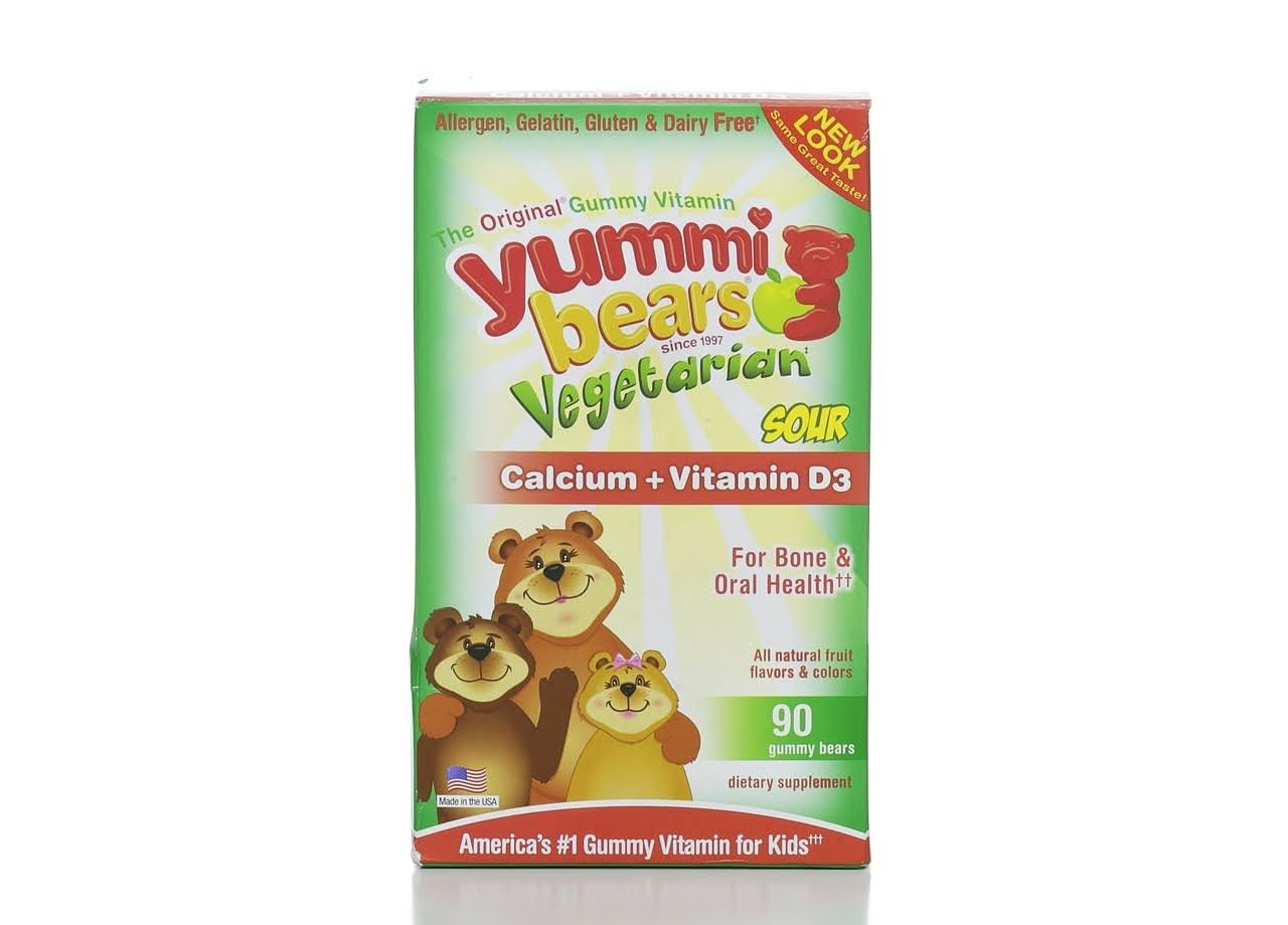 Yummi Bears Vitamins, Calcium + Vitamin D3, Vegetarian, Sour Gummy Bears - 90 bears