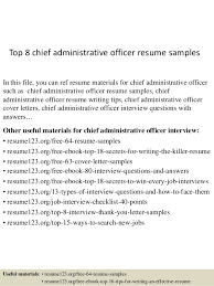 Top 8 Chief Administrative Officer Resume Samples In This File You Can Ref Materials