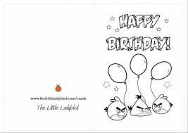Birthday Card Coloring Pages With Angry Bird Picture On Cards