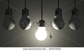 glowing light bulb character l socket stock illustration