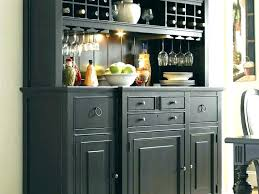 Corner Cabinet Dining Room Tall Buffet Table Black And Hutch With Wine Rack Within