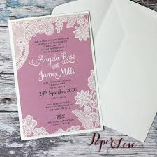 Bespoke Wedding Day Invitation With Vintage Rose Background Cream Or White Printed Floral Lace