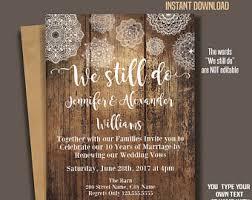 We Still Do Invitation Wedding Anniversary Templates Renewing Vows Rustic Wood And Mandala