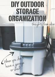 diy outdoor storage organization without a garage or shed
