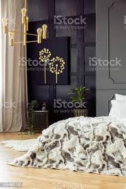 gemusterte bett im grauen schlafzimmer innenraum mit gold kronleuchter schwarz poster und pflanzen echtes foto stockfoto und mehr bilder bett