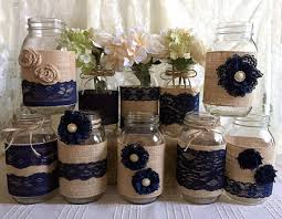 10x Rustic Burlap And Navy Blue Lace Covered Mason Jar Vases Wedding Decoration Bridal Shower Engagement Anniversary Party Decor
