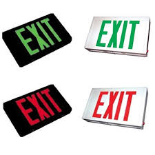led steel housing exit sign choose or green lettering color