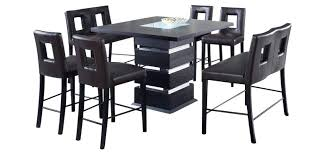 Pub Table With Benches Modern Bar Height 5 Piece Dining Set Cut Out Stools