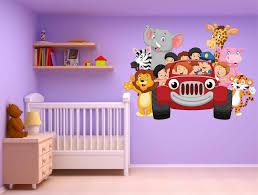 autocollant chambre bébé stickers muraux enfant voiture animaux jungle réf 15217 stickers
