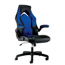 ofm essentials by ofm leather racing style gaming chair black blue