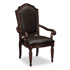 Upholstered Black Leather Dining Chair With Arms