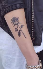 Black White Realistic Rose Outer Forearm Tattoo Ideas For Women