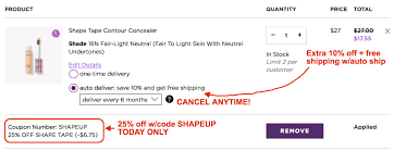 Tarte: 25% Off Shape Tape(reg. $27) + Extra 10% Off & Free ... 3050 Reg 64 Tarte Shape Tape Concealer 2 Pack Sponge Boxycharm August 2017 Review Coupon Savvy Liberation 2010 Guide Boxycharm Coupon Code August 2018 Paleoethics Manufacturer Coupons From California Shape Tape Stay Spray Vegan Setting Birchbox Free Rainforest Of The Sea Gloss Custom Kit 2019 Launches June 5th At 7 Am Et Msa Applying Discounts And Promotions On Ecommerce Websites Choose A Foundation Deluxe Sample With Any 35 Order Code 25 Off Cosmetics Tarte 30 Off Including Sale Items