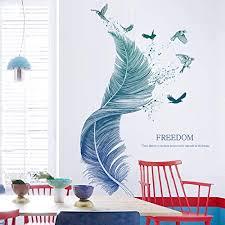 feder wandtattoo für wohnzimmer wandsticker als wanddekoration für schlafzimmer kinderzimmer 124cm 72cm wand aufkleber deko wandtattoo für wand