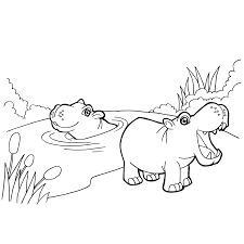 Hippos In Water Coloring Page