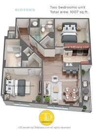 104 Two Bedroom Apartment Design 3d Floor Plans Midtown Florida 3d Floor Plans