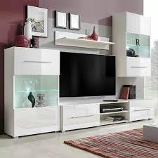 fünfteilige wohnwand tv schrank mit led beleuchtung weiß