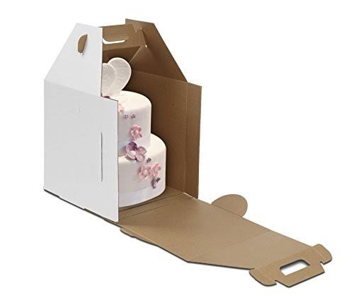 W Packaging Wptc1820wk Plain Tall Cake Box Lock Corner B-Flute x 18 20 White Kraft Pack of 10