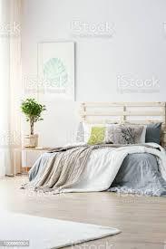 plakat der monstera deliciosa blatt hängt an der wand innen helle schlafzimmer mit frischen pflanze auf tisch und kingsizebett mit grauen blätter und
